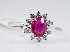 vintage Ring Brillanten pink Saphir 750 Gold 18 Karat IGI Expertise um 1970