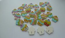 Scrummy Cupcake Wooden Buttons, for 20 buttons. Sewing or Crafting.  UK SELLER