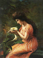 ZWPT602  hand painted portrait long hair girl & flowers art oil painting canvas