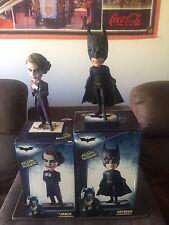 Awesome Neca Dark Knight Batman + Joker Head Knocker Bobbleheads