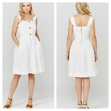 Darling Size 14 White Button Down DRESS £70 Holiday Summer Fab Evening Occasion