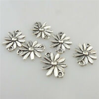 19699 50X Vintage Silver Alloy Daisy Flowers Pendant Jewelry Findings Connector