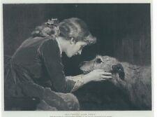 Scottish Deerhound Print, Girl with Hound