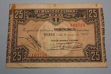 """25 PESETAS 1937 BILBAO CIVIL WAR BANKNOTE SPAIN Pick # S563 """"G"""""""