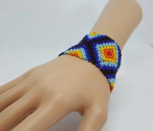 *UK SELLER* - African Wide Bead Stretch Bracelet / Bangle - BLUE