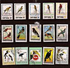 VIETNAM 15 sellos en el pájaros Diferentes especies de las aves 1m 85