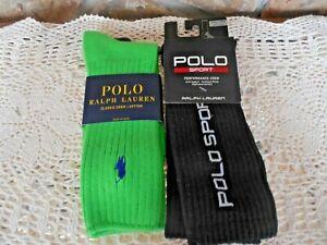 New Polo Sport Ralph Lauren  Performance Crew Socks Classic Crew 2 Pair NWT