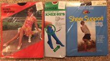 Vintage Pantyhose Stockings & Knee Highs Lot of 3 Packs Nylon NOS Free Shipping
