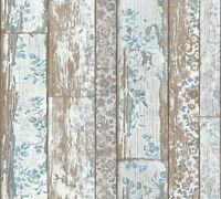 Landhaus Vliestapete Holz Blumen weiß blau braun Vintage 36119-1