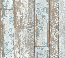 Landhaus Vliestapete Holz Blumen Weiß Blau Braun Vintage 36119 1