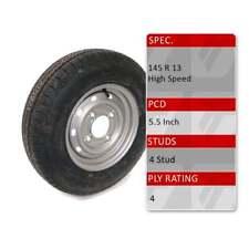 """TRIDENT 145/80R13 4 Stud 5.5"""" PCD 13"""" Caravan Trailer Spare Wheel Tyre 75N 4 Ply"""