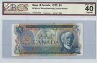 CANADA - 1972 $5 Replacement Note Prefix *CA - BCS EF-40  Lawson & Bouey