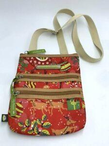 Lily Bloom Triple Zip Crossbody Christmas Reindeer Purse Bag Red Green
