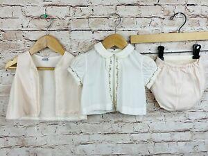Vintage Baby Dress Shirt Vest Plastic Lined Bloomers Pink Floral Lace Set 0-3mo