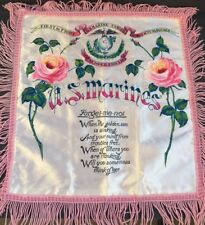"US Marines Sweetheart Pillowcase 16"" x 17"" Satin Always Faithful Forget Me Not"