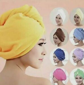 2X PACK SOFT HAIR WRAP HEAD TOWEL TURBIE TURBAN TWIST DRYING CAP HAT LOOP BUTTON