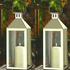 2 Large Silver Lantern Stainless Steel Tall Candle Holder Wedding Centerpieces
