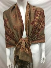 2PLY THICK PASHMINA CASHMERE REVERSIBLE SNOWFLAKE LIGHT BROWN WRAP SCARF STOLE