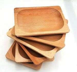 "Wooden plate set of six 8"" long medieval serving tray set  beech wood"
