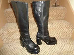 RARE 1990s DESTROY TALL SOFT BLACK LEATHER ZIPPER PLATFORM PUNK KISS BOOTS--8 39