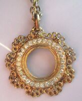 collier pendentif chaîne bijou vintage rosace couleur or cristaux diamant 797