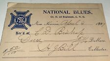 Rare Antique American National Blues Connecticut National Guard Fee Receipt 1907