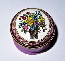 Halcyon Days Enamel Box - Wicker Basket Of Assorted Multi-Colored Flowers