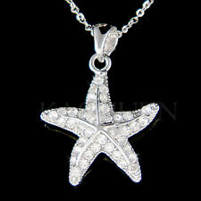 w Swarovski Crystal STARFISH star fish Beach Wedding Bridal Necklace Jewelry New