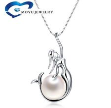 """10 Pics 925 Sterling Silver Freshwater Pearl Mermaid Pendant 18"""" Chain Necklaces"""