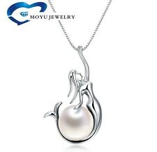 "925 Sterling Silver Freshwater Pearl Mermaid Pendant 18"" Chain Necklace Gift Box"
