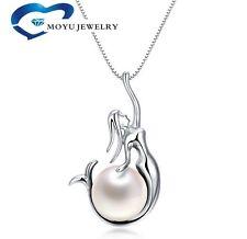 925 Sterling Silver Freshwater Pearl Mermaid Pendant 18