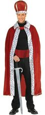 Mens King Robe & Crown Costume Red Dalmatian Spots Kings Royalty Adult Size NEW