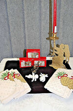 Angel Candle Holder, Lamp Deco, and 4 Napkin Rings, w/ 6 Pineapple Napkins X622
