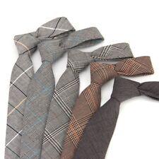 Mens 100% Wool Tweed Check Tie Herringbone Vintage Retro Peaky Blinders Necktie