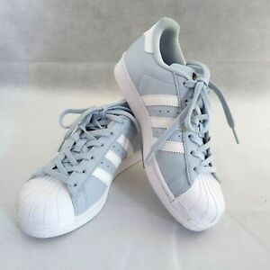 Adidas Women Size 4.5 Superstar Ortholite Easy Blue White Stripe Sneakers Shoes