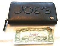 JOE'S JEANS Wallet Black Zip Around VEGAN LEATHER Clutch SPELL OUT Organizer