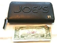 JOE'S JEANS Wallet Black Zip Around VEGAN LEATHER Clutch SPELL OUT Organizer