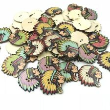50pcs Wooden Buttons American Indian Sewing Scrapbooking Craft wood buttons 30mm