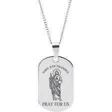 "Stainless Steel St. Jude Thaddeus Dog Tag Prayer Pendant on 18"" Chain"