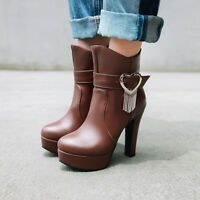 Womens Trendy Metal Decor Buckle Strap Pumps High Heel Platform Ankle Boots Size