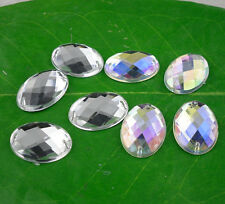 faceted Oval 15X21mm Acrylic Crystal flat back sew Rhinestone applique