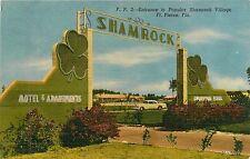 Florida, FL, Ft Pierce, Entrance to Popular Shamrock Village Linen Postcard