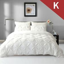 Single/Double/Queen/King Diamond Embroidery Pintuck Quilt/Duvet Cover Set-Snow