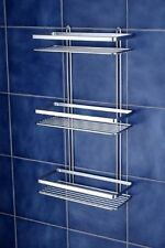 Triple Shelf Shower Basket Hanging Bathroom Organiser Rack Chrome 3-Tier Storage