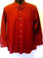 Izod Mens Shirt Sz L 16 32-33 Red L-Sleeve Button Down Easy Care Silky Poplin