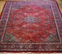 9' x 12'  Hand Knotted Wool Tribal  India Vintage Red Geometric Oriental Rug