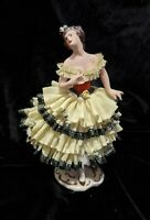 RARE Detailed Yellow & Black Antique Dresden Porcelain Lace Figurine, Volkstedt?