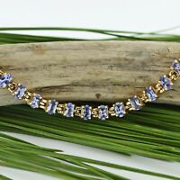 "14k Yellow Gold Estate 7 1/4"" Tanzanite Link Tennis Bracelet"