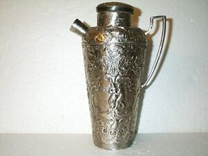 ANTIQUE Webster & Son COCKTAIL SHAKER & PITCHER Silverplate Repousse Overlay Gr8
