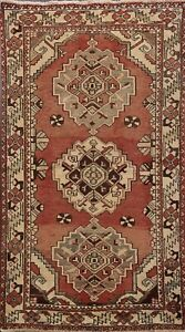 Semi-Antique Geometric Bakhtiari Traditional Area Rug Hand-knotted Wool 4'x6'